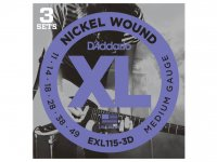 D'Addario EXL115-3D Nickel Wound, Blues, Jazz Rock, 11-49