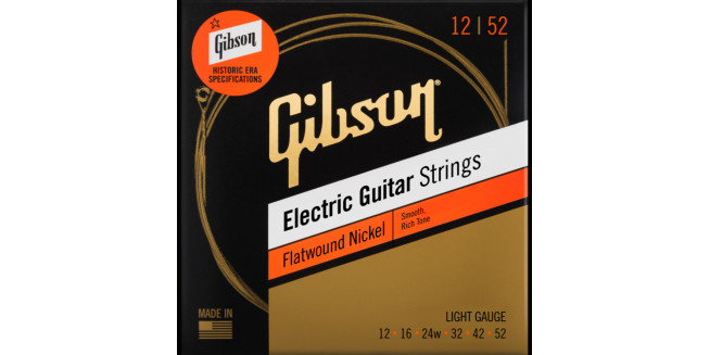 Gibson Flatwound Electric Guitar Strings 12/52
