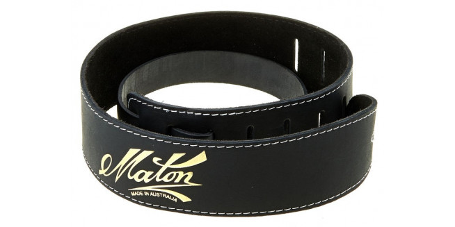 Maton Deluxe Leather Guitar Strap - BK
