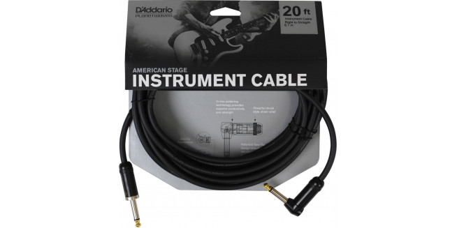 D'Addario American Stage Instrument Cable Angled - 6m