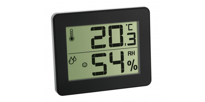 TFA Digital Thermo-Hygrometer Flat Design - BK
