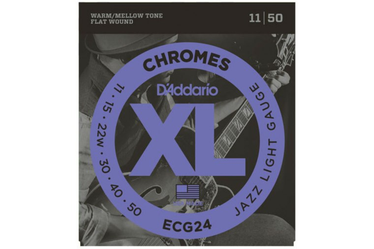 D'Addario ECG24 XL Chromes, Flat Wound, Jazz Light, 11-50