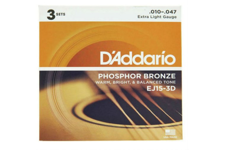D'Addario EJ15-3D Phosphor Bronze, Extra Light, 10-47